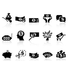 Black money icons set vector