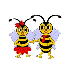 A couple of funny cartoon bees vector