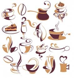 Big set of coffeetea elements vector