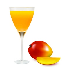 Glass with mango juice vector