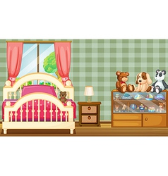 A clean bedroom with a lot of toys vector