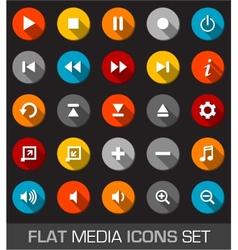 Flat media icons with shadow vector
