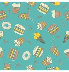 Fast food stickers icons seamless pattern vector