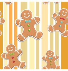 Cute gingerbread man seamless christmas colorful p vector