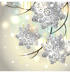 Christmas card with silver snowflakes vector