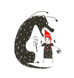 Little red riding hood and black scary wolf vector