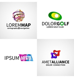 Set of modern colorful abstract web alliance golf vector