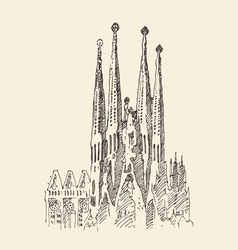 Architecture in barcelona vintage engraved vector