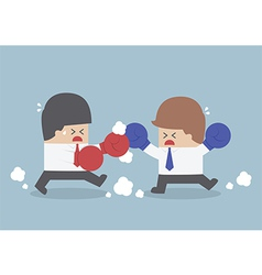 Two businessmen having a fight with boxing gloves vector