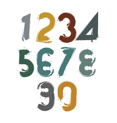 Handwritten colorful numbers stylish numbers set vector