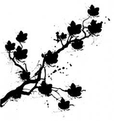 Grunge cherry blossom vector