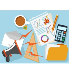 Workplace with office object and documents vector