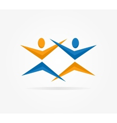 Two people silhouettes reaching up logo vector
