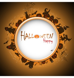 Happy halloween with devildom in fog vector