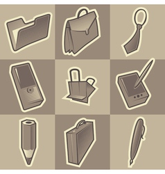Monochrome office icons vector