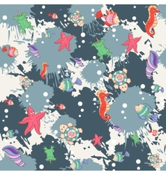 Seamless abstract pattern marine life vector