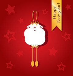Christmas card with a picture of sheep vector