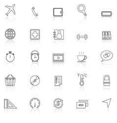 Application line icons with reflect on whiteset 2 vector