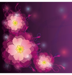 Greeting or invitation card with flowers and curls vector
