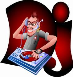 Dj music graphics plate vector