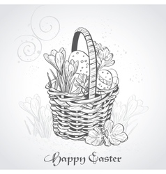 Easter card with a basket and flowersvintage vector
