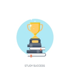Flat  trophy study success vector