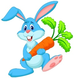 Happy rabbit cartoon holding carrot vector