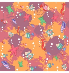 Seamless abstract marine life pattern vector