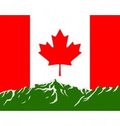 Mountains with flag of canada vector