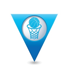 Basketball blue triangular map pointer vector