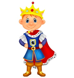 Cute boy cartoon with king costume vector