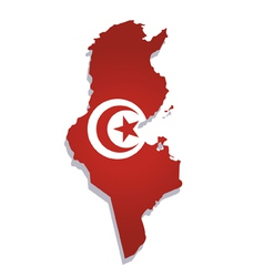 Tunisia africa map flag vector