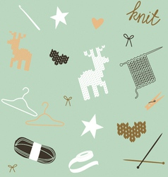 Seamless composition with knit tools and patterns vector