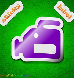 Video camera icon sign symbol chic colored sticky vector