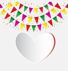 Celebrate banner party flags with confetti vector