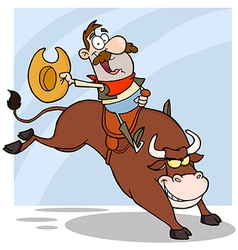 Cowboy riding bull in rodeo vector