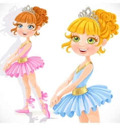 Cute little ballerina girl in tiara isolated on a vector