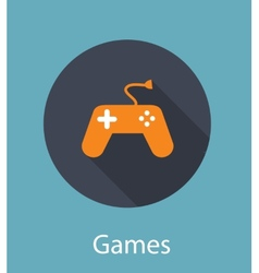 Games flat concept icon vector