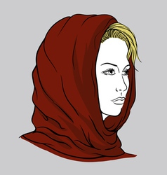 Young woman with knitted scarf vector