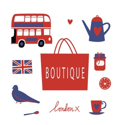 London touristic icons set vector