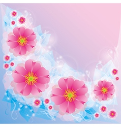 Light background with flowers and decorative curls vector