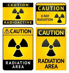 Radiation hazard stickers four labels vector