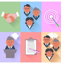 Business partnership management teamwork icons vector