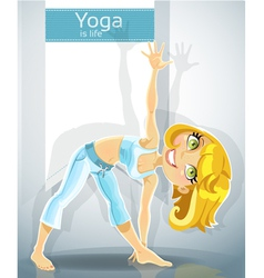 Blond girl in yoga pose trikonasana utthita bonus vector