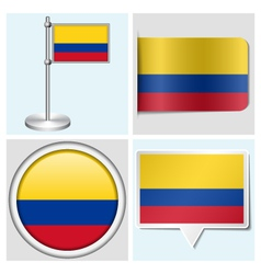 Colombia flag - sticker button label flagstaff vector