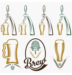Vintage collection of beer and beer dispensers vector