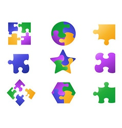 Color jigsaw puzzle icon vector