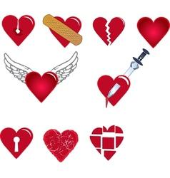 Set of heart shapes vector