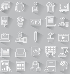 Set of business outline icons with shadow vector