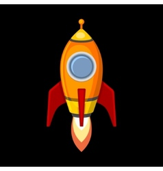 Comic rocket ship in cartoon style isolated on vector